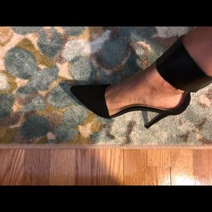 ZARA Black Suede Toe and Faux Leather Strap Heels